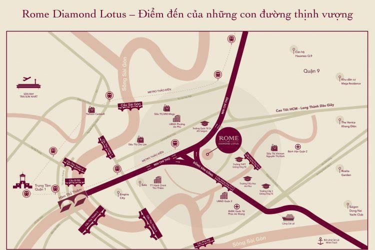 vi tri du an rome by diamond lotus