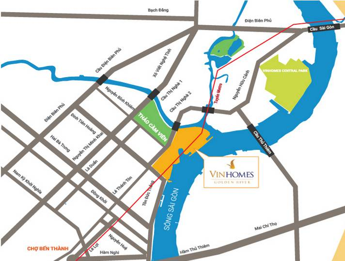 vi tri vinhomes golden river