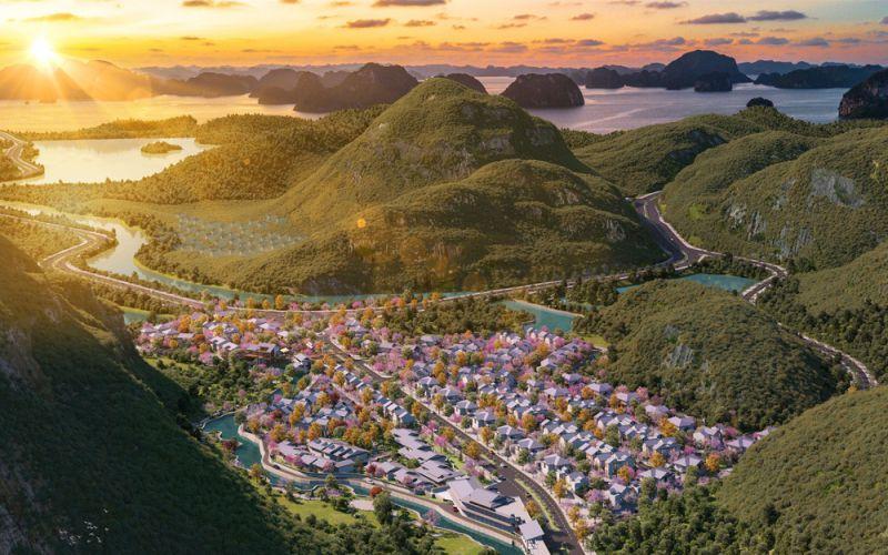 phoi canh du an sun onsen village