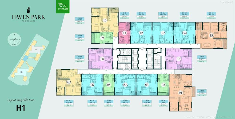 mat bang h1 haven park residences